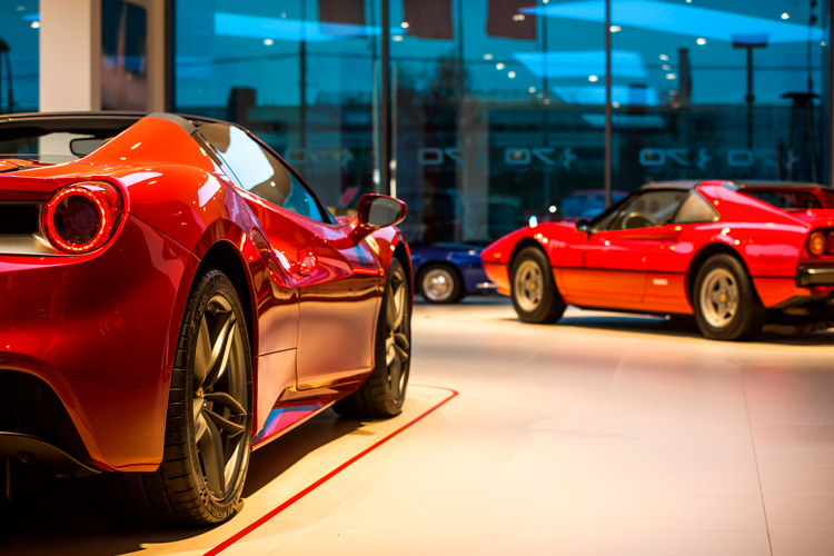 Ferrari classic cars in dealer's showroom