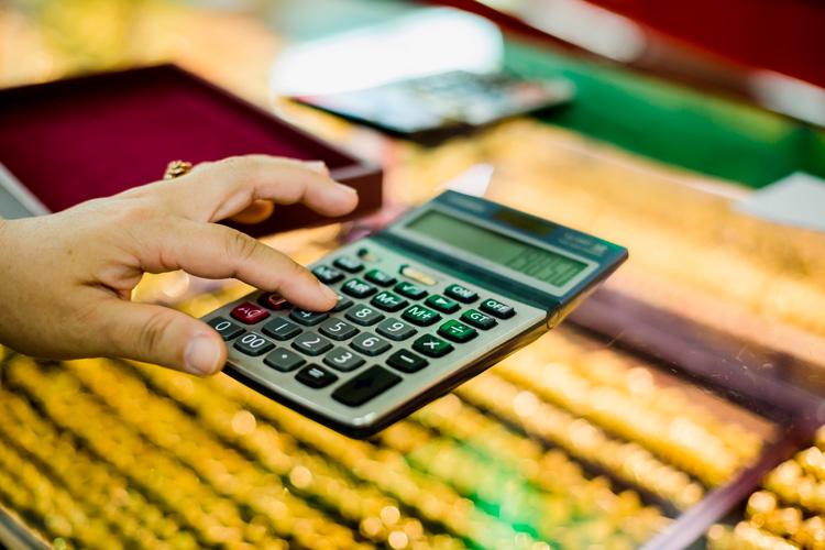 Calculator on jewelry display counter