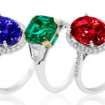 Sapphire, emerald, and ruby rings