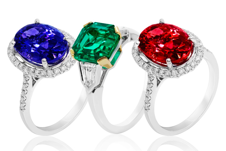 Sapphire, emerald, and ruby gemstone rings