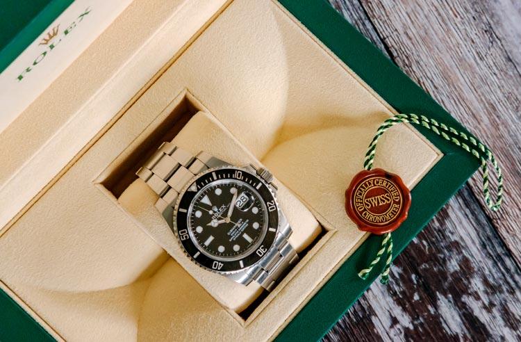 Rolex watch in a branded packaging