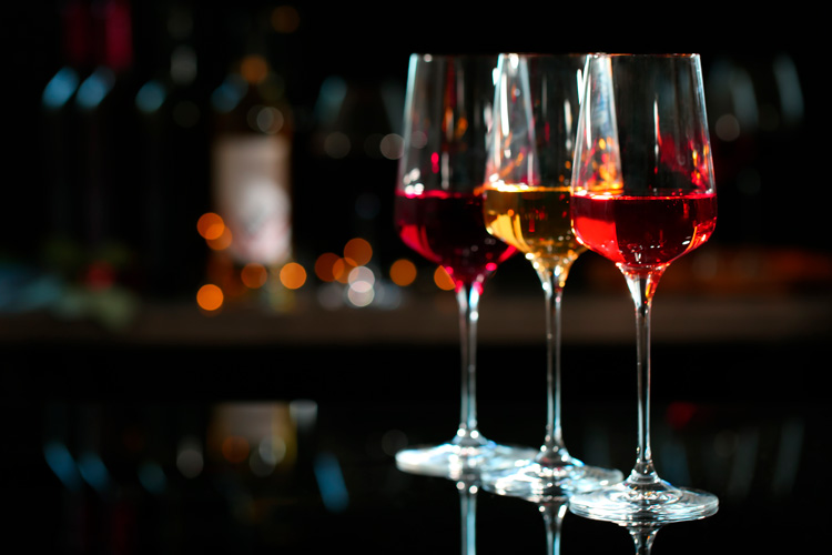 Rose, white and red wine
